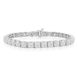 7 Inch 14K White Gold 9 Carat TDW Round Diamond Tennis Bracelet (J-K, I2)