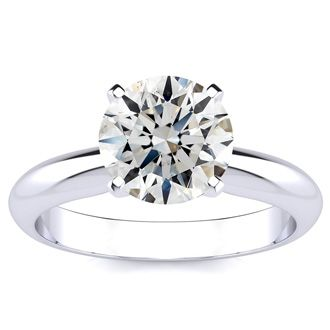 2.00 Carat Round Cut Diamond Solitaire Engagement Ring, H-I Color, SI2 Clarity