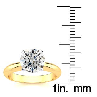 2.00 Carat Round Cut Diamond Yellow Gold Solitaire Engagement Ring, H-I Color, SI2 Clarity