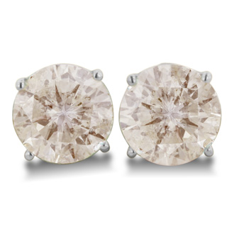 PRICE REDUCED FOR IMMMEDIATE SALE!  ONLY 1 PAIR AVAILABLE. 4 Carat GIANT Round Brilliant Cut Diamond Stud Earrings In 18 Karat White Gold