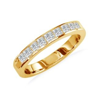 1ct Princess Diamond Channel Set Band, 14k Yellow Gold