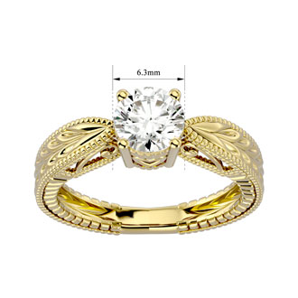 1 Carat Diamond Solitaire Engagement Ring with Tapered Etched Band In 14 Karat Yellow Gold