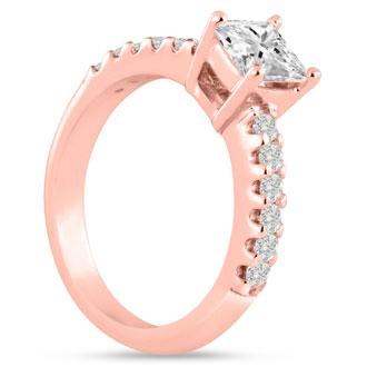 1 1/2ct Princess Cut Diamond Engagement Ring Crafted in 14 Karat Rose Gold