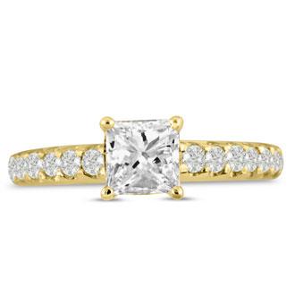 1 1/2ct Princess Cut Diamond Engagement Ring Crafted in 14 Karat Yellow Gold