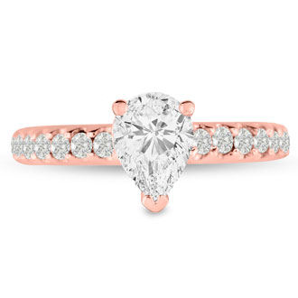 1 1/3 Carat Pear Shape Diamond Engagement Ring In 14 Karat Rose Gold