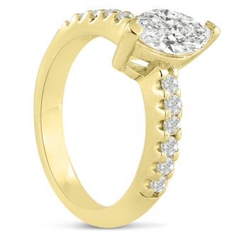 1 1/3ct Marquise Shaped Diamond Engagement Ring Crafted in 14 Karat Yellow Gold