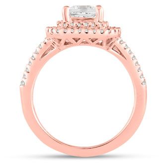 1.62ct Princess Cut Double Halo Diamond Engagement Ring Crafted in 14 Karat Rose Gold