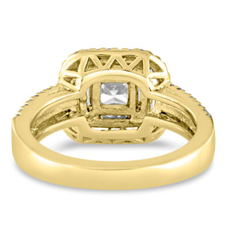 1.62ct Princess Cut Double Halo Diamond Engagement Ring Crafted in 14 Karat Yellow Gold
