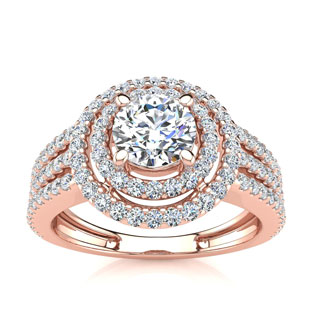 1 1/2ct Round Double Halo Diamond Engagement Ring Crafted in 14 Karat Rose Gold