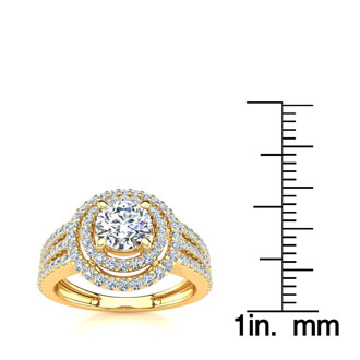1 1/2ct Round Double Halo Diamond Engagement Ring Crafted in 14 Karat Yellow Gold