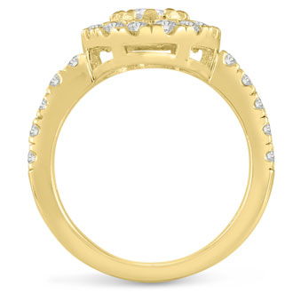1 1/2 Carat Oval Halo Diamond Engagement Ring in 14 Karat Yellow Gold