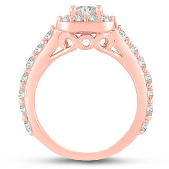 1 3/4 Carat Halo Diamond Engagement Ring in 14 Karat Rose Gold