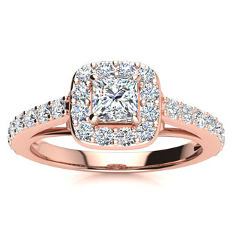 2 Carat Princess Cut Halo Diamond Engagement Ring in 14 Karat Rose Gold