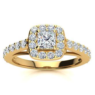 2 Carat Princess Cut Halo Diamond Engagement Ring in 14 Karat Yellow Gold