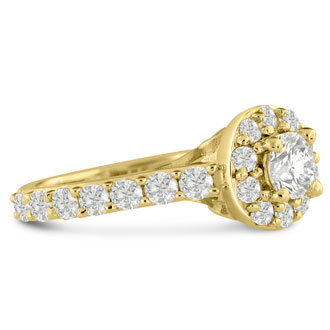 1 3/5 Carat Halo Diamond Engagement Ring in 14 Karat Yellow Gold