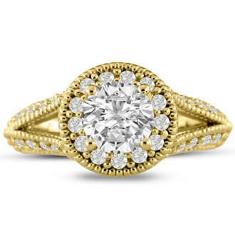1 4/5ct Split Shank Halo Diamond Engagement Ring Crafted in 14 Karat Yellow Gold
