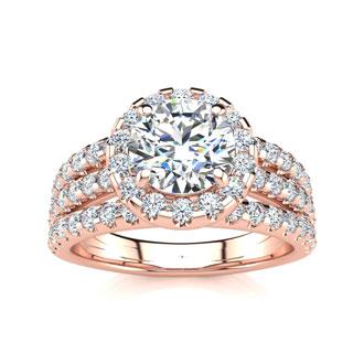 2 Carat Round Halo Diamond Engagement Ring in 14 Karat Rose Gold
