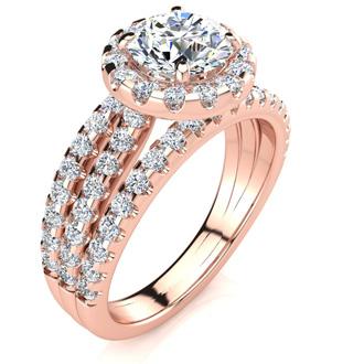 1 2/3 Carat Round Halo Diamond Engagement Ring in 14k Rose Gold
