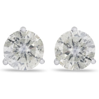 2ct Diamond Studs in 14k White Gold Martini Settings