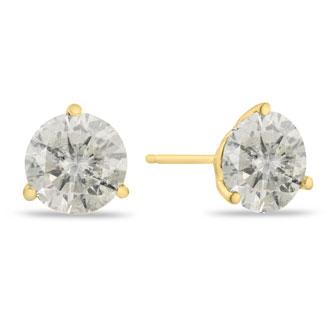 Value Priced 2.00 Carat Round Cut Diamond Stud Earrings In 14 Karat Yellow Gold