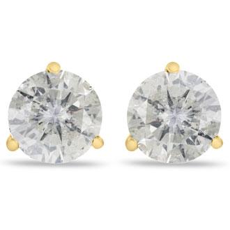 2ct Clarity Enhanced Diamond Studs in 14k Yellow Gold Martini Setting