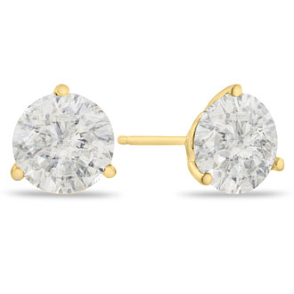 2ct Fine Diamond Stud Earrings in 14k Yellow Gold, Clarity Enhanced