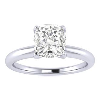 4. 1-carat Cushion Cut Diamond Solitaire Engagement Ring in 14k White Gold