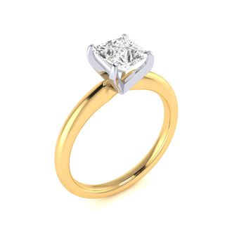 1 Carat Princess Cut SI Clarity Diamond Solitaire Engagement Ring In 14 Karat Yellow Gold