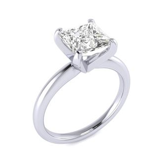2 Carat Princess Cut Diamond Solitaire Engagement Ring In 14K White Gold