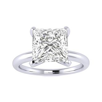 2 1/2ct Princess Cut Diamond Solitaire Engagement Ring In 14K White Gold