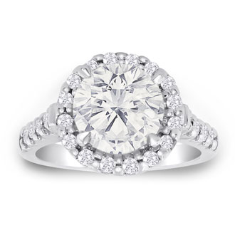 3.50 Carat Halo Diamond Engagement Ring in 18 Karat White Gold