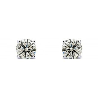 1/4ct Natural Diamond Stud Earrings in 14k White Gold