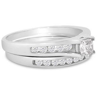 1/2 Carat Princess And Round Diamond Bridal Set In 14 Karat White Gold