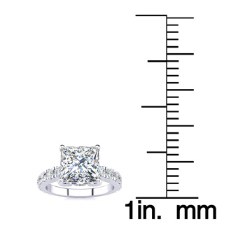 La Fantasia! 3.50 Carat Princess Center Diamond Engagement Ring Including 2.50 Carat Center Diamond