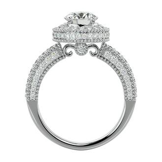 2 Carat Halo VS Diamond Engagement Ring in 14 Karat White Gold