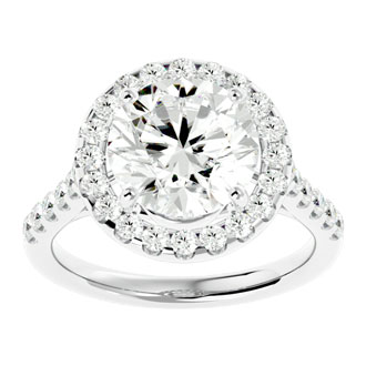 5.78 Carat Halo Round Diamond Engagement Ring in 18 Karat White Gold