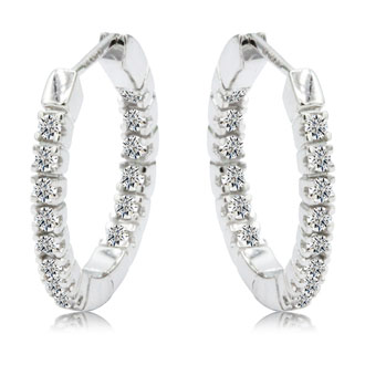 1/4ct Inside-Out Style Diamond Hoop Earrings in 14k White Gold