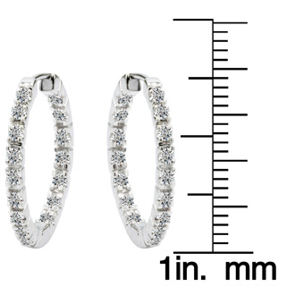 1/2ct Inside-Out Style Diamond Hoop Earrings in 14k White Gold