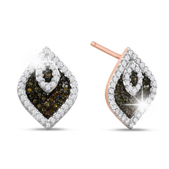 1/3ct Champagne and White Diamond Stud Earrings In 14 Karat Rose Gold Plated 925 Silver