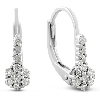 1/4ct Diamond tiny Leverback Earrings Crafted In Solid Sterling Silver, 1/2 Inch