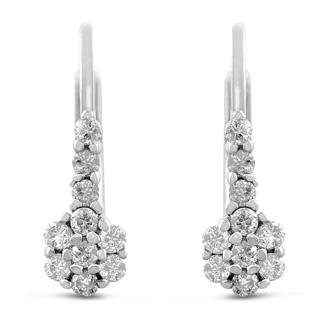 1/4ct Diamond Leverback Drop Earrings