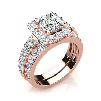 2 1/4 Carat Radiant Halo Diamond Bridal Set in 14k Rose Gold