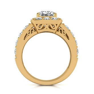 2 1/4 Carat Radiant Halo Diamond Bridal Set in 14k Yellow Gold