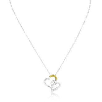 Two-Tone Diamond Heart Necklace - Mother & Daughter Special