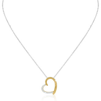 Two Tone Swarovski Elements Crystal Heart Necklace In Sterling Silver