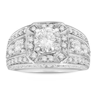 2.31ct Fine Diamond Engagement Ring in 14k White Gold. LAST ONE
