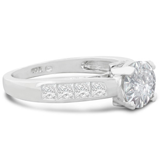 2 Carat Fine Diamond Engagement Ring In 14 Karat White Gold