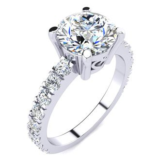 3 Carat Fine Diamond Engagement Ring In 14 Karat White Gold