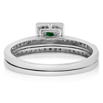 1/2ct Pave Emerald and Diamond Bridal Set in 14k White Gold