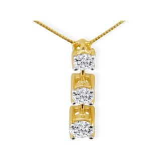 Our Most Popular Fine 1/2ct Three Diamond Pendant in 14k Yellow Gold